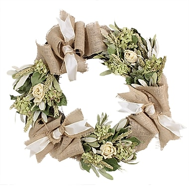 The Christmas Tree Company Roses and Burlap Dried Floral Wreath 22