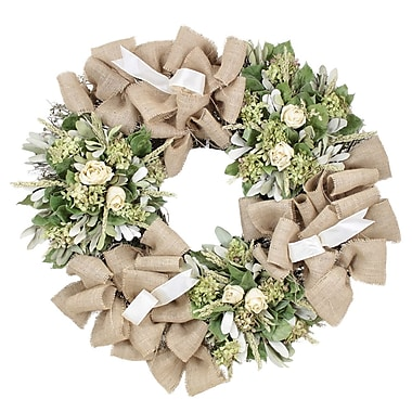 The Christmas Tree Company Roses and Burlap Dried Floral Wreath 30