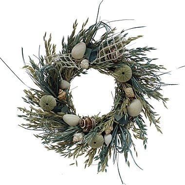 The Christmas Tree Company Crystal Tides Seashell and Dried Floral Wreath 16