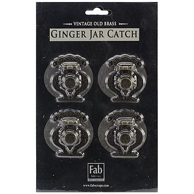Fabscraps Old Brass Embellishment, Ginger Jar Catch, 4/Pack