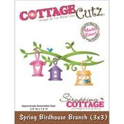 """CottageCutz® 3"""" x 3"""" Universal Thin Die, Spring Birdhouse Branch Made Easy"""