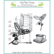 "Chapel Road 5 3/4"" x 6 3/4"" Cling Mounted Rubber Stamp Set, Tea Collage"