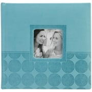 "Pioneer™ 4"" x 6"" Embossed Leatherette 2-Up Book Bound Photo Album, Aqua Circles"