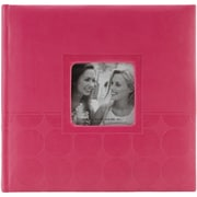 "Pioneer™ 4"" x 6"" Embossed Leatherette 2-Up Book Bound Photo Album, Pink Circles"