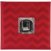 "Pioneer™ 4"" x 6"" Embossed Leatherette 2-Up Book Bound Photo Album, Red Chevron"