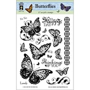 "Hot Off the Press 6"" x 8"" Clear Acrylic Stamps Sheet, Butterflies"