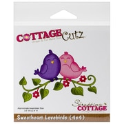 """CottageCutz® 4"""" x 4"""" Universal Thin Die, Sweetheart Lovebirds"""