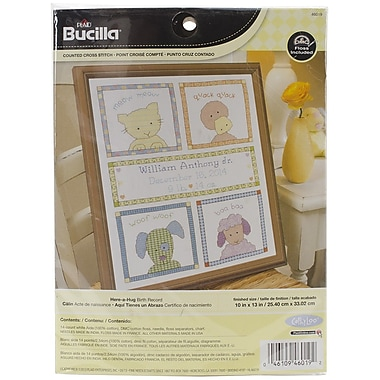 Bucilla® Here-A-Hug Birth Record Counted Cross Stitch Kit, 10