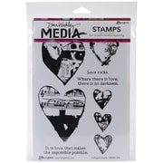 "Tim Holtz® Ranger 6"" x 9"" Media Cling Rubber Stamp, Collaged Hearts"