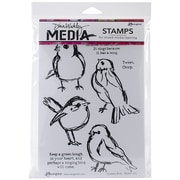 Tim Holtz MDR-41320 Scribbly birds Rubber Stamp, White