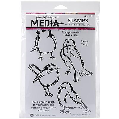 Tim Holtz MDR-41320 Scribbly birds Rubber Stamp, White