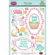 "Justrite® Papercraft 6"" x 8"" Clear Stamps Set, Welcome Spring"