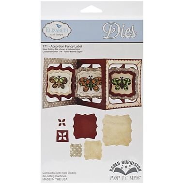 Elizabeth Craft Designs Pop It Up™ 12 cm x 12 cm Die Set, Accordion Fancy Label