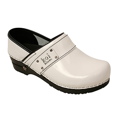Sanita Footwear Leather Women's Lindsey Clog White Patent, 9.5 - 10