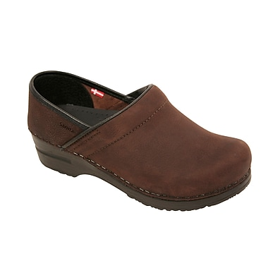 Sanita Footwear Leather Professional Lisbeth Closed Oil Leather Clog Brown, 5.5 - 6