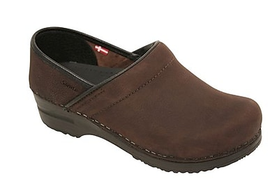 Sanita Footwear Leather Women's Professional Oil Clog Antique Brown, 12.5 - 13