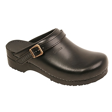 Sanita Footwear Leather Women's Ingrid Clog Black, 4.5 - 5