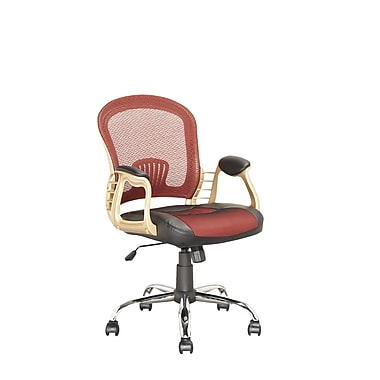 Corliving Executive Office Chair, Black Leatherette And Red Mesh