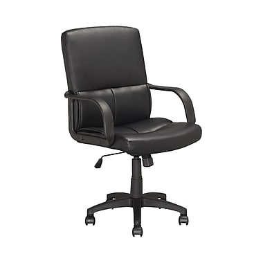 CorLiving Leather Executive Office Chair, Fixed Arms, Black (LOF-308-O)