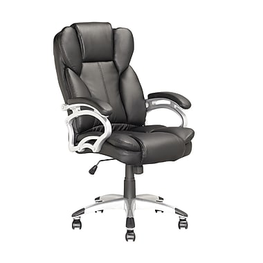 Corliving Executive High Back Office Chair With Padded Arms, Black Leatherette