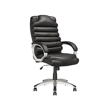 Corliving Executive Ridged Office Chair, Black Leatherette
