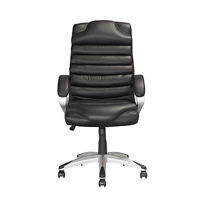 CorLiving Leather Executive Office Chair, Fixed Arms, Black (LOF-509-O)