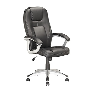 CorLiving Leather Executive Office Chair, Fixed Arms, Black (LOF-808-O)