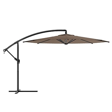 Corliving Offset Patio Umbrella, Sandy Brown