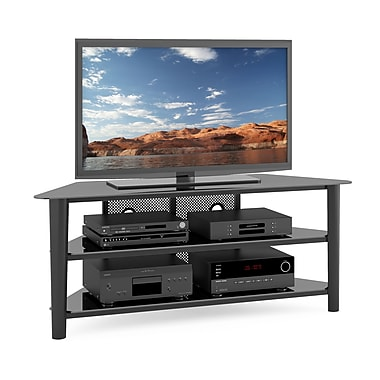 Corliving Tal-604-T Alturas Wood Veneer TV Stand, Stained Black