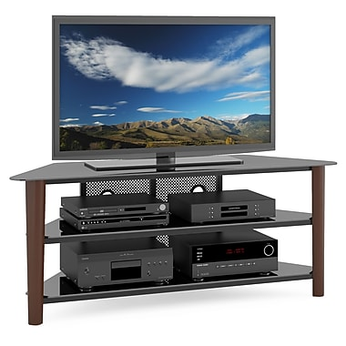 Corliving Tal-694-T Alturas Wood Veneer TV Stand, Dark Espresso