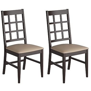 CorLiving™ Atwood Leatherette Cappuccino Stained Dining Chair, Gray Stone