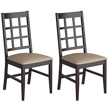CorLiving –Chaises pour salle à manger couleur cappuccino avec siège en similicuir Atwood DOC-395-C, ensemble de 2