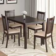 "CorLiving™ Atwood 43 1/4"" Hardwood Stained 5-Piece Dining Set W/Microfiber Seat, Cappuccino/Beige"