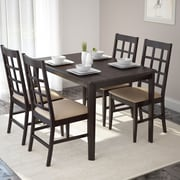 CorLiving™ Atwood Hardwood/Wood Stained 5-Piece Dining Set W/Leatherette Seat, Cappuccino/Dark Brown