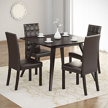 CorLiving™ Atwood Hardwood Stained 5-Piece Dining Set W/Leatherette Seat, Dark Cappuccino/Dark Brown
