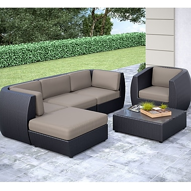 Corliving Seattle Curved 6 Piece Sofa With Chaise Lounge And Chair Patio Set