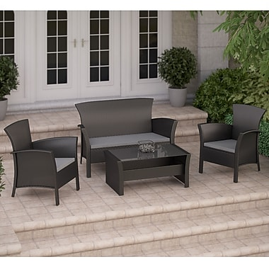 Corliving Cascade 4 Piece Patio Set, Black Rope Weave
