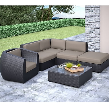 Corliving Seattle Curved 6 Piece With Chaise Lounge And Chair Sectional Patio Set