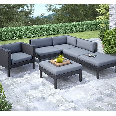 Corliving Oakland 6 Piece With Chaise Lounge And Chair Sectional Patio Set