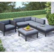 CorLiving™ Oakland 6-Piece Sectional With Chaise Lounge and Chair Patio Set, Dove Gray/Black