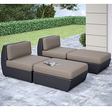 Corliving Seattle Curved 4 Piece Lounger Patio Set