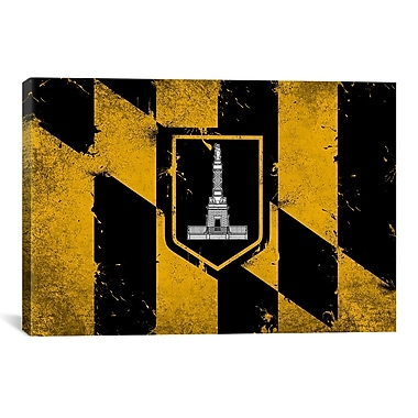 iCanvas Baltimore Flag, Grunge Painted Graphic Art on Canvas; 18'' H x 26'' W x 0.75'' D