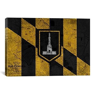 iCanvas Baltimore Flag, Grunge Vintage Map Graphic Art on Canvas; 26'' H x 40'' W x 1.5'' D