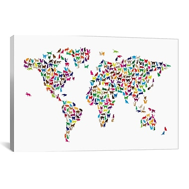 iCanvas 'Cats World Map' by Michael Tompsett Graphic Art on Canvas; 8'' H x 12'' W x 0.75'' D