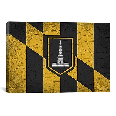 iCanvas Baltimore Flag, Grunge Cracks Graphic Art on Canvas; 40'' H x 60'' W x 1.5'' D