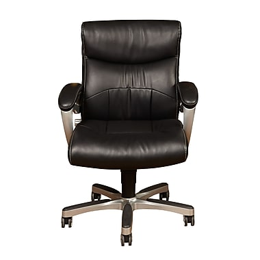 Sealy DS-1942-452-4 Sealy Leather Task Chair with Fixed Arms, Black