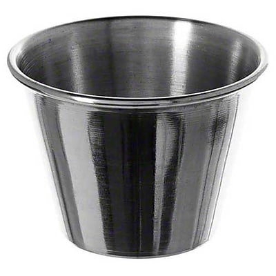 Carlisle 602500 2.5 oz. Stainless Steel Classic Sauce Cups, Silver 451681