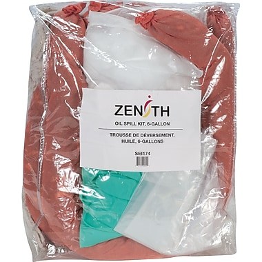 Zenith Safety 10-Gallon Eco-Friendly Truck Spill Kits, Oil Only, With Zip-Lock Bag