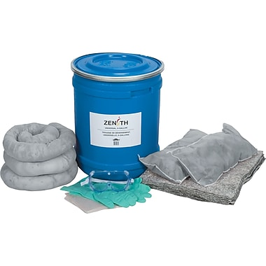 Zenith Safety 10-Gallon Eco-Friendly Truck Spill Kits, Universal, With Blue Drum