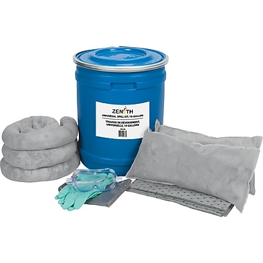 Zenith Safety - Trousses antidéversements 10 gallons, tout-usage, avec baril bleu